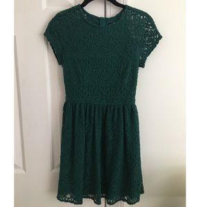 Winter lace emerald green dress